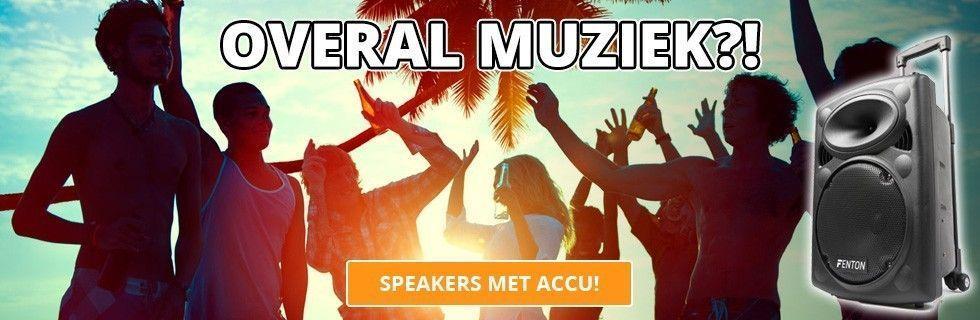 Overal muziek met onze mobiele speakers op accu