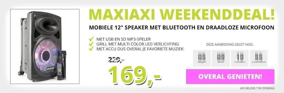 MaxiAxi Weekenddeal! Bluetoothspeaker op accu! Van 229,- voor maar 169,-!