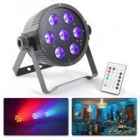 2e keus - BeamZ RGBAW & UV FlatPAR met 7x 18W (6-in-1) HEX LED's, DMX en IR remote