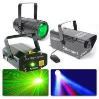2e keus - BeamZ Disco Lampen met laser - Moonflower, Rood/Groene Laser en Rookmachine Set 3
