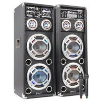 "2e keus - SkyTec SPD-28V Set Actieve speakers 2x 8"" USB MP3 1200W met draadloze microfoon"