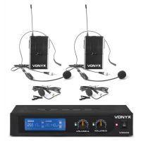 Vonyx WM522B draadloze headset microfoonset 2-kanaals VHF