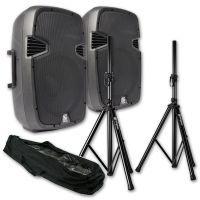 """Complete geluidsset SkyTec SPJ-800A 8"""" speakerset met standaards"""