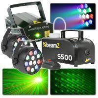 BeamZ lichtset met Laser, PAR spots en 500W rookmachine